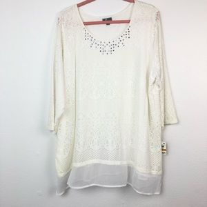 JM Collection White Lace Pullover Top Shirt 3X M68